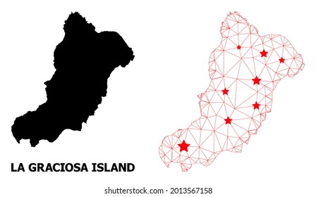 Mesh polygonal and solid map of La Graciosa Island. Vector structure is created from map of La Graciosa Island with red stars. Abstract lines and stars are combined into map of La Graciosa Island.