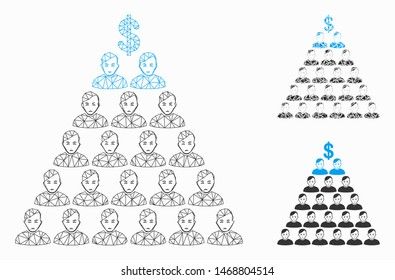 Mesh Ponzi pyramid scheme model with triangle mosaic icon. Wire frame triangular mesh of Ponzi pyramid scheme. Vector composition of triangle elements in various sizes, and color tints.
