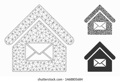 Mesh post office model with triangle mosaic icon. Wire frame polygonal mesh of post office. Vector collage of triangle elements in variable sizes, and color tinges. Abstract 2d mesh post office,
