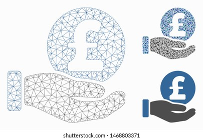 Mesh pound coin payment hand model with triangle mosaic icon. Wire frame triangular mesh of pound coin payment hand. Vector mosaic of triangle elements in different sizes, and color tones.