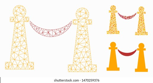 Mesh private party stanchions model with triangle mosaic icon. Wire frame polygonal mesh of private party stanchions. Vector composition of triangle parts in various sizes, and color tinges.