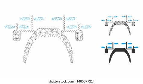 Mesh quadcopter model with triangle mosaic icon. Wire carcass triangular mesh of quadcopter. Vector mosaic of triangles in various sizes, and color tinges. Abstract 2d mesh quadcopter,