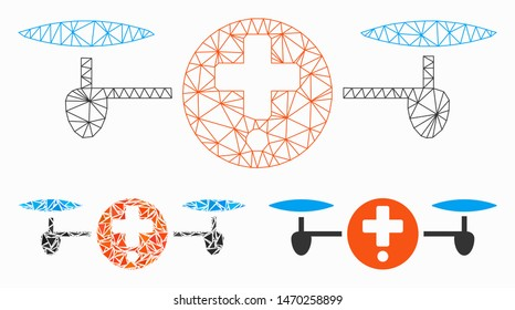 Mesh quadcopter pharmacy model with triangle mosaic icon. Wire carcass triangular mesh of quadcopter pharmacy. Vector mosaic of triangle elements in different sizes, and color hues.