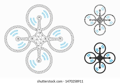 Mesh quadcopter screw rotation model with triangle mosaic icon. Wire frame triangular mesh of quadcopter screw rotation. Vector mosaic of triangle elements in various sizes, and color shades.