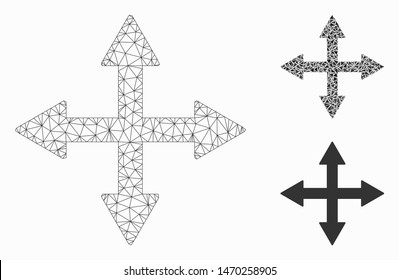 Mesh quadro arrows model with triangle mosaic icon. Wire frame triangular mesh of quadro arrows. Vector mosaic of triangle parts in different sizes, and color tinges. Abstract 2d mesh quadro arrows,