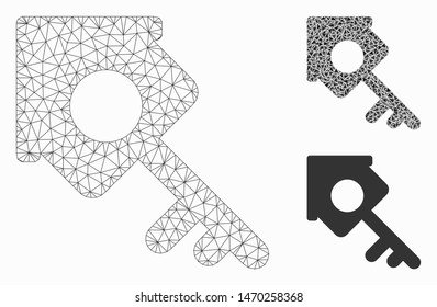 Mesh realty access model with triangle mosaic icon. Wire carcass triangular mesh of realty access. Vector mosaic of triangle parts in various sizes, and color tinges. Abstract flat mesh realty access,
