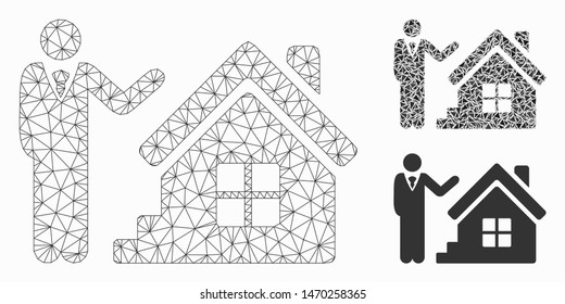 Mesh realty agent model with triangle mosaic icon. Wire carcass triangular network of realty agent. Vector mosaic of triangle parts in different sizes, and color hues. Abstract flat mesh realty agent,