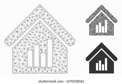 Mesh realty bar chart model with triangle mosaic icon. Wire frame triangular mesh of realty bar chart. Vector mosaic of triangles in various sizes, and color shades. Abstract 2d mesh realty bar chart,