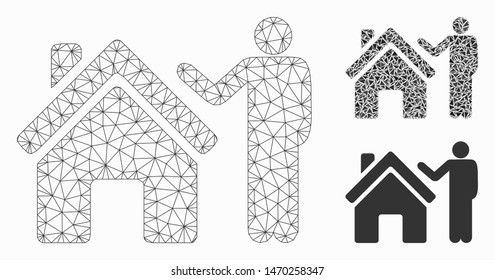 Mesh realty buyer model with triangle mosaic icon. Wire frame polygonal mesh of realty buyer. Vector composition of triangle parts in various sizes, and color hues. Abstract 2d mesh realty buyer,