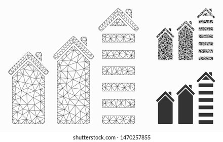 Mesh realty trend model with triangle mosaic icon. Wire frame triangular mesh of realty trend. Vector mosaic of triangle parts in different sizes, and color tones. Abstract 2d mesh realty trend,