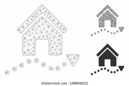 Mesh realty trend model with triangle mosaic icon. Wire carcass triangular mesh of realty trend. Vector collage of triangle parts in various sizes, and color tints. Abstract 2d mesh realty trend,