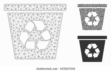 Mesh recycle bin model with triangle mosaic icon. Wire frame polygonal mesh of recycle bin. Vector mosaic of triangle elements in various sizes, and color tinges. Abstract 2d mesh recycle bin,