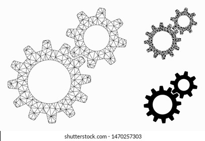 Mesh reduction gears model with triangle mosaic icon. Wire frame triangular mesh of reduction gears. Vector mosaic of triangles in variable sizes, and color shades. Abstract 2d mesh reduction gears,