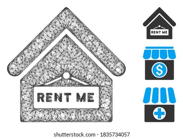Mesh rent me polygonal web 2d vector illustration. Carcass model is based on rent me flat icon. Triangle network forms abstract rent me flat model.