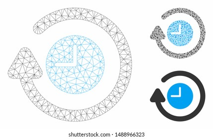 Mesh repeat clock model with triangle mosaic icon. Wire frame triangular mesh of repeat clock. Vector collage of triangle parts in variable sizes, and color tints. Abstract 2d mesh repeat clock,