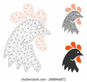 Mesh rooster head model with triangle mosaic icon. Wire carcass polygonal mesh of rooster head. Vector mosaic of triangle elements in various sizes, and color tinges. Abstract flat mesh rooster head,