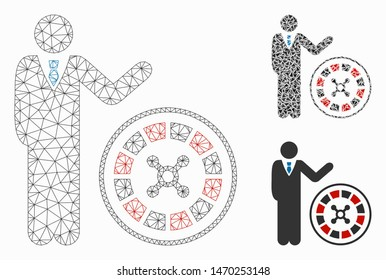 Mesh roulette croupier model with triangle mosaic icon. Wire carcass triangular mesh of roulette croupier. Vector mosaic of triangle parts in variable sizes, and color tones.