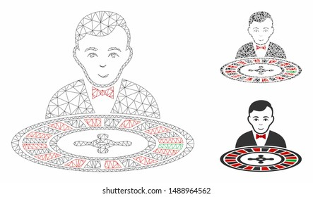 Mesh roulette dealer model with triangle mosaic icon. Wire frame triangular mesh of roulette dealer. Vector mosaic of triangle elements in variable sizes, and color shades.