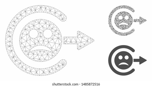 Mesh sad logout model with triangle mosaic icon. Wire carcass triangular network of sad logout. Vector mosaic of triangle parts in various sizes, and color tints. Abstract flat mesh sad logout,