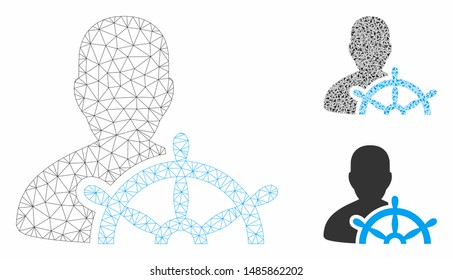 Mesh ship captain model with triangle mosaic icon. Wire frame polygonal mesh of ship captain. Vector mosaic of triangle elements in variable sizes, and color tints. Abstract 2d mesh ship captain,