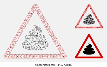 Mesh shit warning model with triangle mosaic icon. Wire frame triangular mesh of shit warning. Vector collage of triangle elements in various sizes, and color tints. Abstract 2d mesh shit warning,