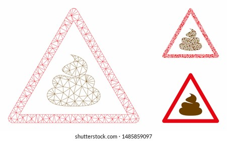 Mesh shit warning model with triangle mosaic icon. Wire carcass polygonal mesh of shit warning. Vector mosaic of triangle elements in variable sizes, and color tinges. Abstract 2d mesh shit warning,