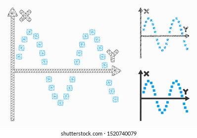 Mesh sine plot model with triangle mosaic icon. Wire carcass polygonal mesh of sine plot. Vector composition of triangle parts in various sizes, and color tones. Abstract 2d mesh sine plot,