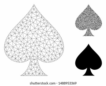 Mesh spades suit model with triangle mosaic icon. Wire frame triangular mesh of spades suit. Vector mosaic of triangle elements in different sizes, and color shades. Abstract 2d mesh spades suit,