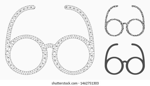 Mesh spectacles model with triangle mosaic icon. Wire carcass polygonal network of spectacles. Vector mosaic of triangle elements in different sizes, and color shades. Abstract 2d mesh spectacles,