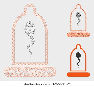 Mesh sperm in condom model with triangle mosaic icon. Wire frame triangular mesh of sperm in condom. Vector mosaic of triangles in different sizes, and color tints. Abstract 2d mesh sperm in condom,
