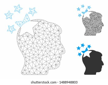 Mesh stars hit head model with triangle mosaic icon. Wire frame triangular mesh of stars hit head. Vector composition of triangle parts in variable sizes, and color hues.