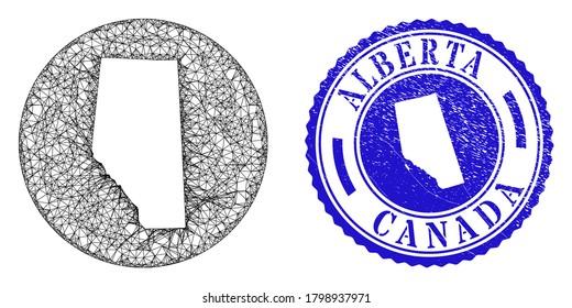 Mesh stencil round Alberta Province map and scratched stamp. Alberta Province map is a hole in a round stamp seal. Web mesh vector Alberta Province map in a circle. Blue round grunge seal stamp.