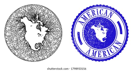 Mesh stencil round North America v2 map and scratched seal stamp. North America v2 map is carved in a round stamp seal. Web carcass vector North America v2 map in a circle. Blue round scratched stamp.