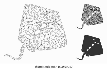Mesh stingray fish model with triangle mosaic icon. Wire carcass triangular mesh of stingray fish. Vector mosaic of triangle elements in variable sizes, and color tints.