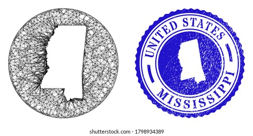 Mesh subtracted round Mississippi State map and grunge seal stamp. Mississippi State map is carved in a circle stamp seal. Web mesh vector Mississippi State map in a circle. Blue round grunge seal.