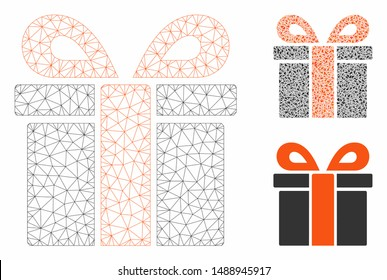 Mesh surprize box model with triangle mosaic icon. Wire frame triangular mesh of surprize box. Vector mosaic of triangle parts in different sizes, and color shades. Abstract flat mesh surprize box,