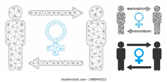 Mesh swingers exchange female model with triangle mosaic icon. Wire carcass polygonal mesh of swingers exchange female. Vector mosaic of triangle parts in variable sizes, and color tints.