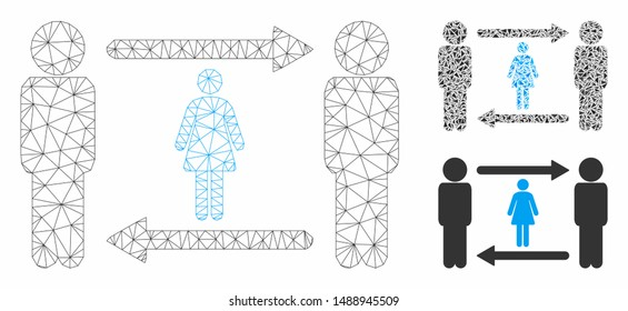 Mesh swingers exchange girl model with triangle mosaic icon. Wire carcass triangular mesh of swingers exchange girl. Vector mosaic of triangle parts in various sizes, and color tinges.
