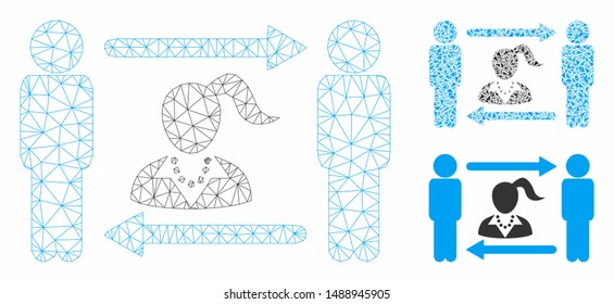 Mesh swingers exchange woman model with triangle mosaic icon. Wire frame polygonal mesh of swingers exchange woman. Vector mosaic of triangle parts in different sizes, and color tones.