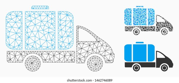Mesh tank truck model with triangle mosaic icon. Wire frame polygonal mesh of tank truck. Vector collage of triangle parts in variable sizes, and color tinges. Abstract 2d mesh tank truck,