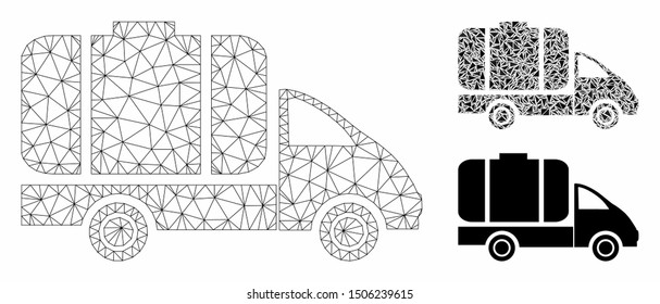 Mesh tank truck model with triangle mosaic icon. Wire carcass polygonal mesh of tank truck. Vector collage of triangle parts in different sizes, and color shades. Abstract flat mesh tank truck,