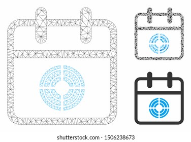 Mesh target day model with triangle mosaic icon. Wire frame triangular mesh of target day. Vector mosaic of triangle parts in different sizes, and color hues. Abstract flat mesh target day,
