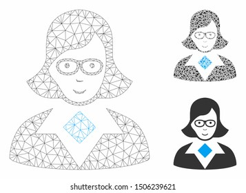 Mesh teacher lady model with triangle mosaic icon. Wire frame triangular mesh of teacher lady. Vector mosaic of triangle parts in various sizes, and color tones. Abstract 2d mesh teacher lady,