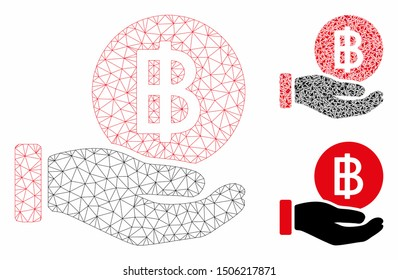 Mesh Thai Baht coin payment model with triangle mosaic icon. Wire carcass polygonal mesh of Thai Baht coin payment. Vector composition of triangle parts in variable sizes, and color tints.