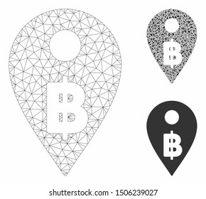Mesh Thai Baht map marker model with triangle mosaic icon. Wire carcass triangular mesh of Thai Baht map marker. Vector mosaic of triangle elements in different sizes, and color tinges.