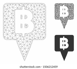 Mesh Thai Baht map pointer model with triangle mosaic icon. Wire carcass triangular mesh of Thai Baht map pointer. Vector mosaic of triangle parts in different sizes, and color tinges.