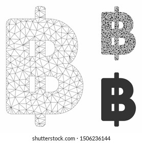 Mesh Thai Baht model with triangle mosaic icon. Wire frame triangular network of Thai Baht. Vector collage of triangle parts in variable sizes, and color tones. Abstract flat mesh Thai Baht,