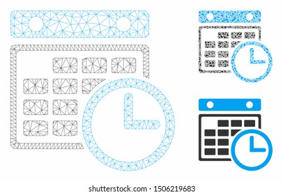 Mesh timetable model with triangle mosaic icon. Wire carcass triangular mesh of timetable. Vector mosaic of triangle parts in various sizes, and color shades. Abstract 2d mesh timetable,