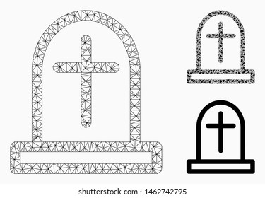 Mesh tombstone model with triangle mosaic icon. Wire carcass triangular network of tombstone. Vector mosaic of triangle parts in various sizes, and color tints. Abstract flat mesh tombstone,