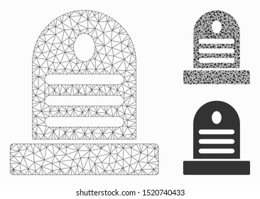 Mesh tombstone model with triangle mosaic icon. Wire frame triangular mesh of tombstone. Vector mosaic of triangles in variable sizes, and color tones. Abstract 2d mesh tombstone,